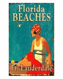 Customizable Large Florida Beaches Vintage Style Wooden Sign