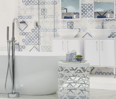 Using a tile with many different patterned faces, gives you the fereedom to create a distinctive patterned wall in your home that is as unique as you are. Play with your tiles in the bathroom, kitchen, lounge…anywhere! There is no right or wrong, as long as you love it. #dreamhome #makeithappen #homegoals #bathroom #kitchen #tiles #monochromatic #homedecor #trendingdesign #trendyhome Patterned Wall, Feature Walls, Trendy Home, Wall Patterns, Kitchen Tiles, Design Trends, Floors, Lounge, Faces