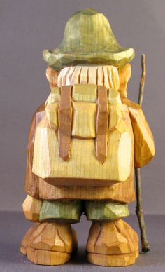 Just in time for the Spring hiking season, heres Hans, the Alpine Hiker, equipped with backpack, bedroll and Tyrolean hat. Hans stands a mere 5.5 inches, but carries a big stick. He is hand carved from a single piece of northern basswood (except for walking stick).