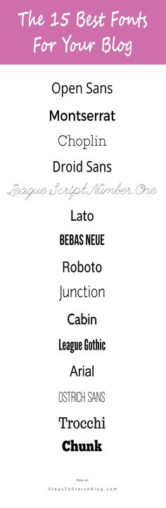 Here are 15 of the best fonts for blogs. More listed at: http://www.stepstostartablog.com/best-blog-fonts-for-blogs
