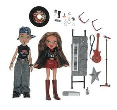 "Bratz Rock Angelz 2 Doll Pack: Yasmin & Eitan by Toys. $67.99. Amazon.com                With her new record released, Yasmin's heading out on tour with her road crew, Eitan, and enough fashion accessories to keep their look fresh, no matter how long the tour. Keeping true to her ""passion for fashion"" roots, Yasmin wears a Rock Angelz concert tee, a glam leather jacket and sparkling red skirt, and knee-length red alligator boots. From her pierced bellybutton to ..."