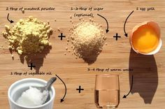 Mix mustard powder with hot water in a small bowl,     Add the yolk and the oil to the mustard mass. Mix well,     Apply the mask on the scalp avoiding the hair as much as possible,     Cover your head with a shower cap and leave for 15 minutes or until your tolerance is over (max 1 hour). If you don't feel heat, add sugar next time;     Wash the mustard off with lukewarm water (protect your eyes),     Shampoo and condition your hair as usual,     Let your hair dry naturally.