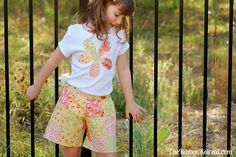 Patchwork Shorts and Appliqued Shirt Tutorial - The Ribbon Retreat Blog  Great to use scraps
