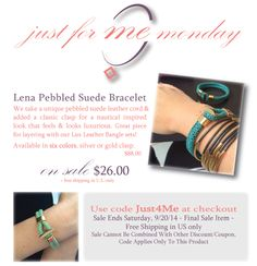 Join our Newsletter for more info on our Just 4 Me Monday Sales.  http://www.isabellegracejewelry.com/Articles.asp?ID=429