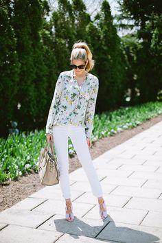 White Denim + Floral   Ivory Lane