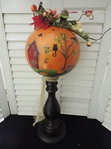 primitive autumn decor | Handpainted Primitive Folk Art Autumn Fall Pumpkin Table Decor Gourd ...