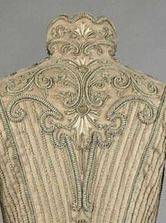 Bodice, wool and silk fabric, silver braid embroidery, Edwardian Era, Edwardian Fashion, Vintage Fashion, Couture Details, Fashion Details, Historical Costume, Historical Clothing, Motif Soutache, Vintage Gowns