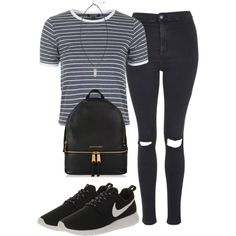*** by sassypayne on Polyvore featuring polyvore, fashion, style, Topshop and NIKE