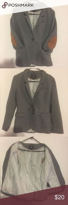 H&M Gray Cotton Blazer Nice fashion blazer with brown patches on the back of the elbows. Can be dressed UP or Down. Doesn't fit anymore and looking for a home. Super dope blazer! H&M Jackets & Coats Blazers