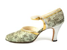 Shoe-Icons / Shoes / D'orsay shoes with olive color silk upper and silver and gold leather applique. 1926-29
