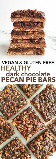 Vegan & Gluten-free Healthy Dark Chocolate Pecan Pie Bars. Super easy and delicious. Made with gluten-free baking powder, chia egg and a dreamy dark chocolate topping. Plant based and perfect for the holidays!