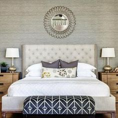 J and J Design Group - bedrooms - gray grasscloth, grasscloth wallpaper, gray grasscloth wallpaper, wallpapered accent wall, wallpapered hea...