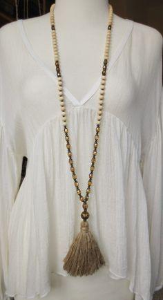 Mala necklace tassel brass beige cream bohemian picasso glass beads natural  wood beads vintage silk white Kette 108 Perlen Yoga Seidenquaste gold beige Böhmische Glasperlen Malakette