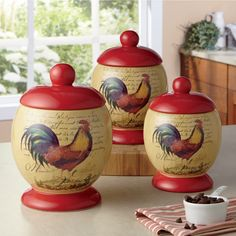 Each beautifully glazed stoneware canister has a regal rooster accent adorned on it. The sealing gaskets inc.Decorate Now, Pay Later with Country Door Credit! Dining Decor, Kitchen Decor, Kitchen Canisters, Canister Sets, Christmas Wishes, Christmas Tree, Dinner Plates, Rustic Decor, 3 Piece