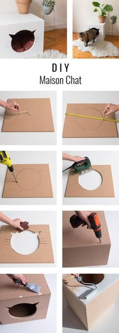 DIY homemade cat to make - courtat cathy - - DIY maison chat à fabriquer DIY homemade cat to make Lit Chat Diy, Diy Cat Enclosure, Diy Cat Tent, Dog Tent, Cat House Diy, House Dog, Diy Drawers, Cat Room, Pet Products