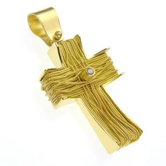 Western gold cross in ropes with diamond. For a wide variety of crosses and religious symbols in gold and silver see Athena's Treasures. Gold Jewelry Simple, Greek Jewelry, 14k Gold Jewelry, Luxury Jewelry, Fine Jewelry, Antique Jewelry, Religious Jewelry, Religious Symbols, Religious Gifts