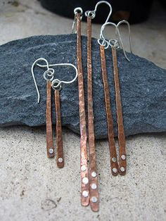 Copper Strip Earrings