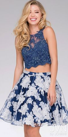Embellished Lace Floral Two-Piece Homecoming Dress from JVN by Jovani #edressme