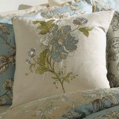 Cushion with Crewel embroidery. Eau De Nil