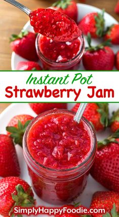 Instant Pot Strawberry Jam has 3 ingredients. This jam is fresh tasting & not too sweet. Pressure cooker strawberry jam is easy & fast to make Strawberry Freezer Jam, Homemade Strawberry Jam, Strawberry Jam Recipe, Healthy Strawberry Recipes, Strawberry Jelly, Jelly Recipes, Jam Recipes, Canning Recipes, Kitchen