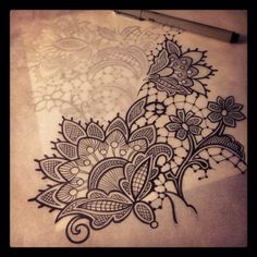 lace tattoo.... super keen for lace to be the background of my sleeve. C.