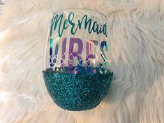 Mermaid Vibes Glitter Dipped Wine Glass // Mermaid Wine Glass