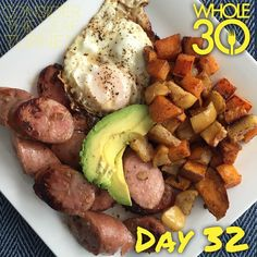 """""""Day 32! Cinnamon Roasted Sweet Potatoes and Apples + fried egg + chicken apple sausage + avocado. So yum!  #whole30 #whole100 #CTLTwhole100 #whole30homies #2015IGwhole30 #eatrealfood #cleaneating #jerf #healthy #mealideas #paleo #recipe #blog #considertheleafTURNED #day32"""" Photo taken by @considertheleafturned on Instagram, pinned via the InstaPin iOS App! http://www.instapinapp.com (01/29/2015)"""