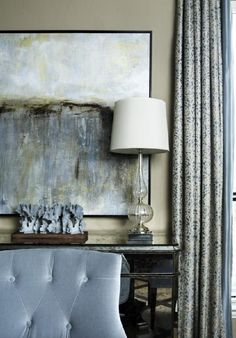 Living Room with Coordinating Blue Artwork and Chair - on HGTV Traditional Dining Rooms, Abstract Canvas Art, Oeuvre D'art, Decoration, Home Art, Interior Design, Stylish Interior, Architecture, Home Decor