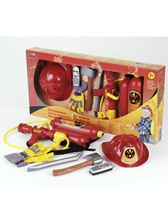 Our Firefighter Set comes with a water squirting backpack to light up little first responders' imaginations. Other firefighter must-haves include a helmet, gloves, axe, crowbar, and mobile phone with sounds. Ages 3 & up.