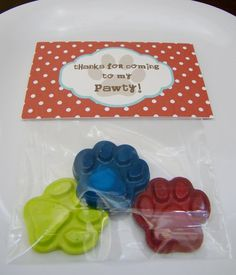 "I think I may put some ""puppy chow"" in bags with these cute favor toppers."