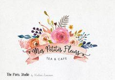 Watercolor Floral Banner Logo Design for artisan boutique branding, e-commerce website logo, wordpress blog logo, boutique logo, photography branding, wedding logo, website branding design.