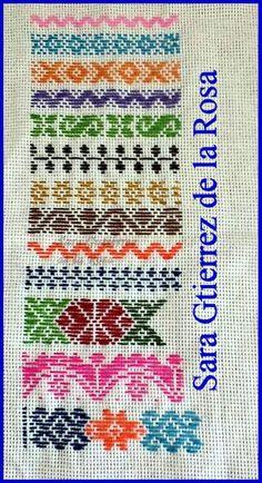 muestrario de bordado pepenado Swedish Embroidery, Mexican Embroidery, Embroidery Sampler, Embroidery Works, Hand Embroidery Stitches, Ribbon Embroidery, Cross Stitch Embroidery, Embroidery Patterns, Cross Stitch Designs