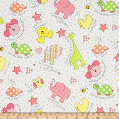 Kimberbell Little One Flannel Too! Tossed Little Ones Pink from @fabricdotcom  Designed by Maywood Studios, this double napped (brushed on both sides) flannel is perfect for quilting and apparel. Colors include pink, green, yellow, white, and black.