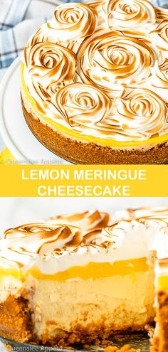 This Lemon Meringue Cheesecake is made with a rich and creamy lemon cheesecake base topped with a tart lemon curd and fluffy meringue. If you're looking for the ultimate lemon dessert, look no further! Lemon Cheesecake Recipes, Lemon Desserts, Delicious Desserts, Dessert Recipes, Lemon Meringue Cheesecake Factory Recipe, Lemon Curd Dessert, Lemon Meringue Cake, Mini Cakes, Cupcake Cakes