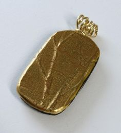 Fused Glass Pendant With Tree Branch Texture, Gold Filled Wire Wrapped @Sandra Pendle Edelman - Jewelry on ArtFire