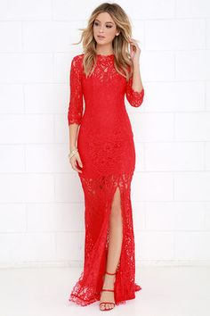 Only One Red Lace Maxi Dress at Lulus.com!