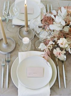Wedding table settings - Romance Inspired by Melissa Sweet Wedding Dresses from David's Bridal Melissa Sweet, Wedding Table Centerpieces, Wedding Table Settings, Wedding Decorations, Centerpiece Ideas, Place Settings, Sweet Table Decorations, Romantic Table Setting, Centerpiece Flowers