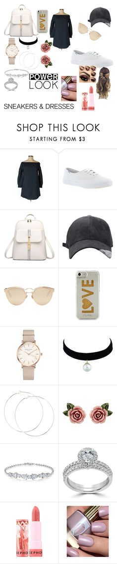 """sneakers and dresses??"" by rainbowsweety ❤ liked on Polyvore featuring rag & bone/JEAN, Keds, Christian Dior, Edie Parker, ROSEFIELD, Dolce&Gabbana, Bliss Diamond and Sephora Collection"