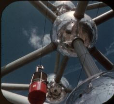 Expo '58, Brussels World's Fair: The Sky Ride and Atomium, from a View-Master souvenir reel.