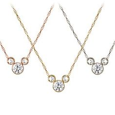 Disney Diamond Icon Mickey Mouse Necklace: Medium -- 14 Karat | Disney StoreDiamond Icon Mickey Mouse Necklace: Medium -- 14 Karat - Mickey's sparkling personality is captured elegantly in this Mickey Mouse Necklace that features three premium diamonds forming Mickey's iconic outline. The 14 karat gold setting is available in different colors and dangles from a fine gold chain.