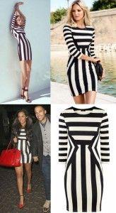 vestido rayas verticales blanco-negro