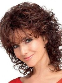 layered curly hair New Auburn Curly Shoulder Length Classic Wigs, Classic Ladies Wig Curly Hair Styles, Curly Hair With Bangs, Short Curly Hair, Medium Hair Styles, Short Wavy, Curly Bob Hairstyles, Hairstyles With Bangs, Hairstyle Men, Formal Hairstyles