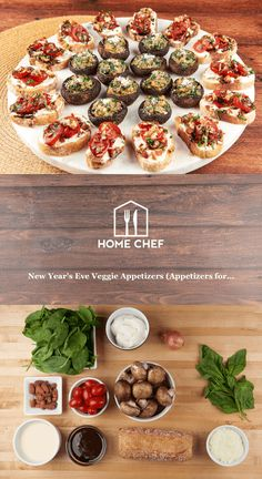 Ring in the new year with awesome veggies bites. Cremini mushrooms stuffed with creamy spinach and Parmesan and Bruschetta topped with tomatoes, basil, balsamic, and smoked almonds (pow!) send 2015 off in style. Oh, and you can hold the fully cooked mushrooms in a low oven (200 degrees) and top the bruschetta at the last minute to make things even easier!
