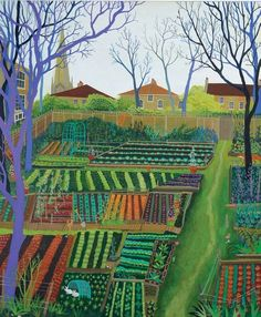 Orange Ladder by Melissa Launay, Fine Art Greeting Card, Acrylic on Wood, Alotments with houses in the background Garden Painting, Garden Art, Landscape Art, Landscape Paintings, Landscapes, Greeting Cards Uk, Henri Rousseau, Garden Illustration, Art Brut
