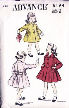 1950s Vintage Girl's Coat Pattern  Size 10  by PatternAndStitch, $45.00
