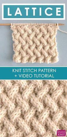 How to Knit the Lattice Cable Stitch Pattern with free knitting pattern and video tutorial by Studio Knit #studioknit via @StudioKnit