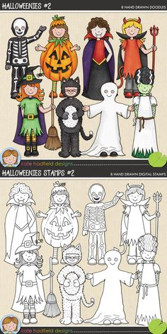 Cute Halloween kids in costume / trick or treaters clip art for teachers! Includes coloured clipart + black and white outlines all at 300 dpi for highest quality printing for your teaching resources and projects! Painting For Kids, Drawing For Kids, Art For Kids, Drawing Journal, Watercolor Journal, Cute Halloween, Halloween Crafts, Halloween Drawings, Printable Crafts