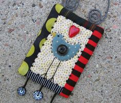 folk art bird miniature quilt hand stitched by gonetoseed on Etsy, $25.00