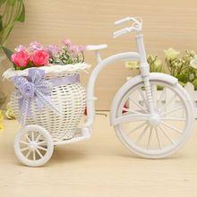 Nova chegada Rattan triciclo bicicleta vaso de flor jardim de casamento decoração de presente com escritório quarto(China (Mainland))