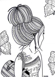 Free coloring page for adults. Girl with tattoo. Gratis kleurplaat voor volwassenen. Meisje met tatoeage.: